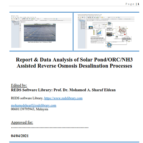 Solar Pond for ORC and RO Desalination: The Report