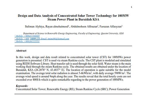Design and Data Analysis of CST for 100MW Steam Power in Buraidah KSA