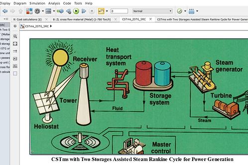 CST Molten Salt/Two Storages for SRC Power Generation