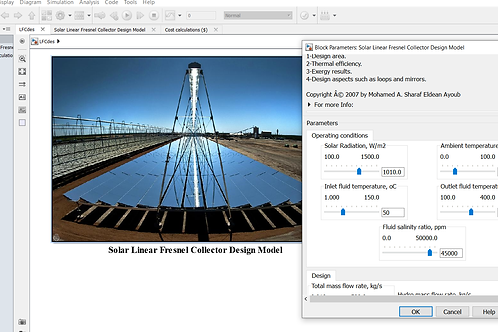 Linear Fresnel Collector: Design Model