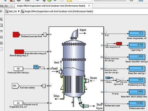 Single Effect Evaporator Desalination (Performance Model)
