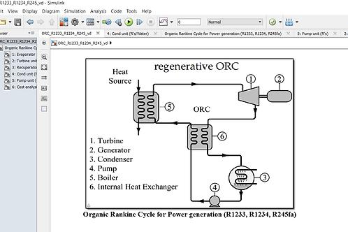 Organic Rankine Cycle for R1233, R1234, R245fa
