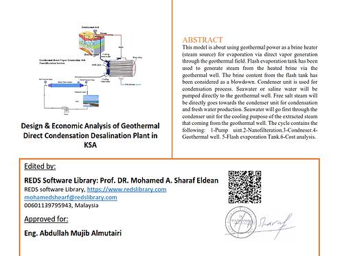 Geothermal Desalination Plant proposal (KSA Case Study)