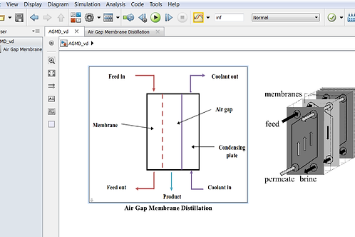 Air Gap Membrane Distillation: Performance Model