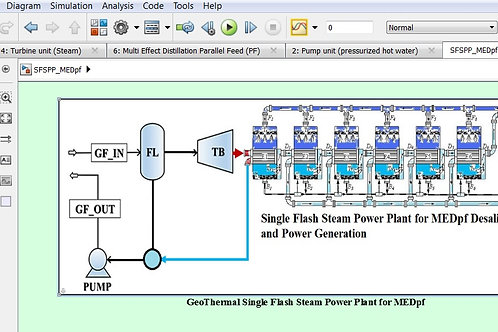 Single Flash Steam Geothermal Power Plant for MEDpf Desalination & Power