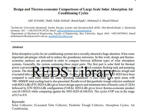 Design & Thermoeconomic Comparison of Different Types of Solar Absorption: Paper