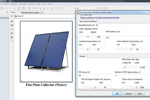 Flat Plate Solar Collector Performance Model (Water)