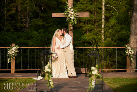 Wedding in Front of Cross at Chateau Vie NC wedding venue