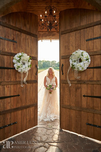 Bride at Castle Doors by Lake