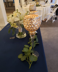 Gold Centerpieces with Greenery