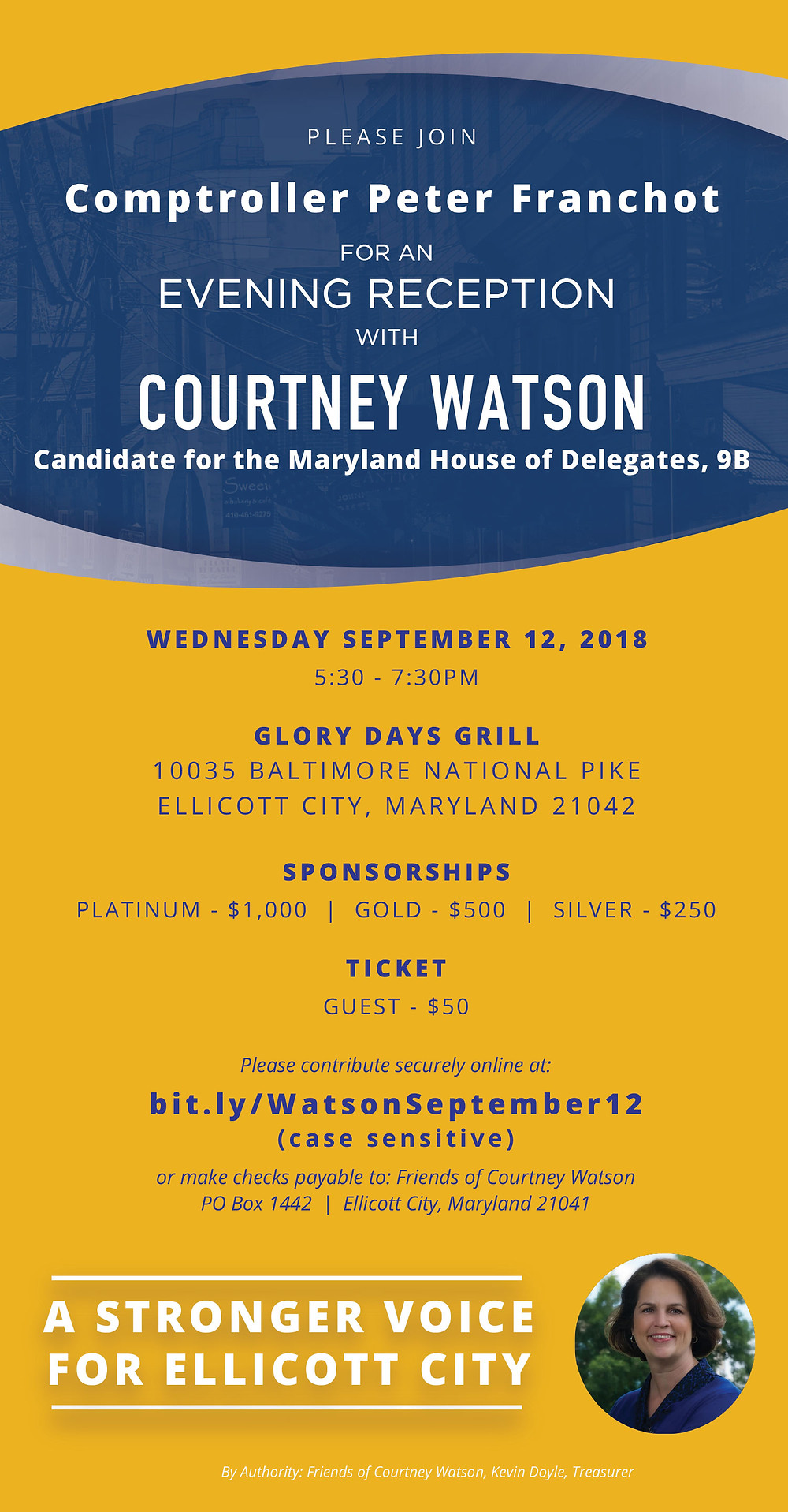 Join MD Comptroller Peter Franchot for an Evening Reception with Courtney Watson on 9/12!