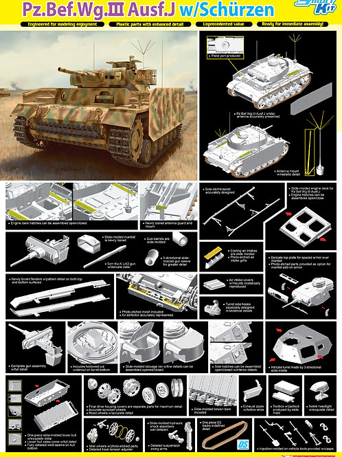 (под заказ) Командирский танк Pz.Bef.Wg.III Ausf.J w/Schürzen - Dragon 6570 1:35