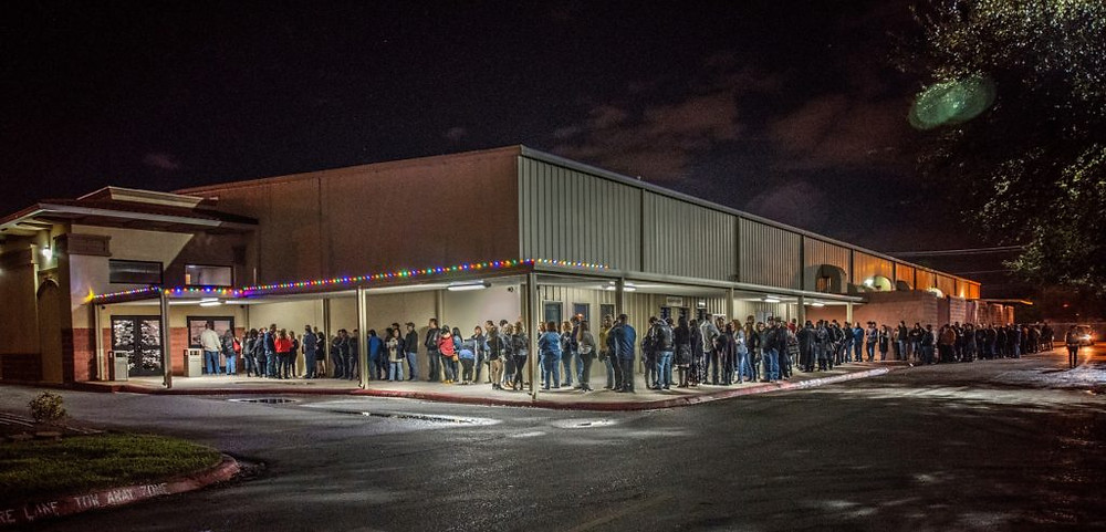 Crowd in line to get in Pharr Events Center to see The Space Rockers and The Outfield