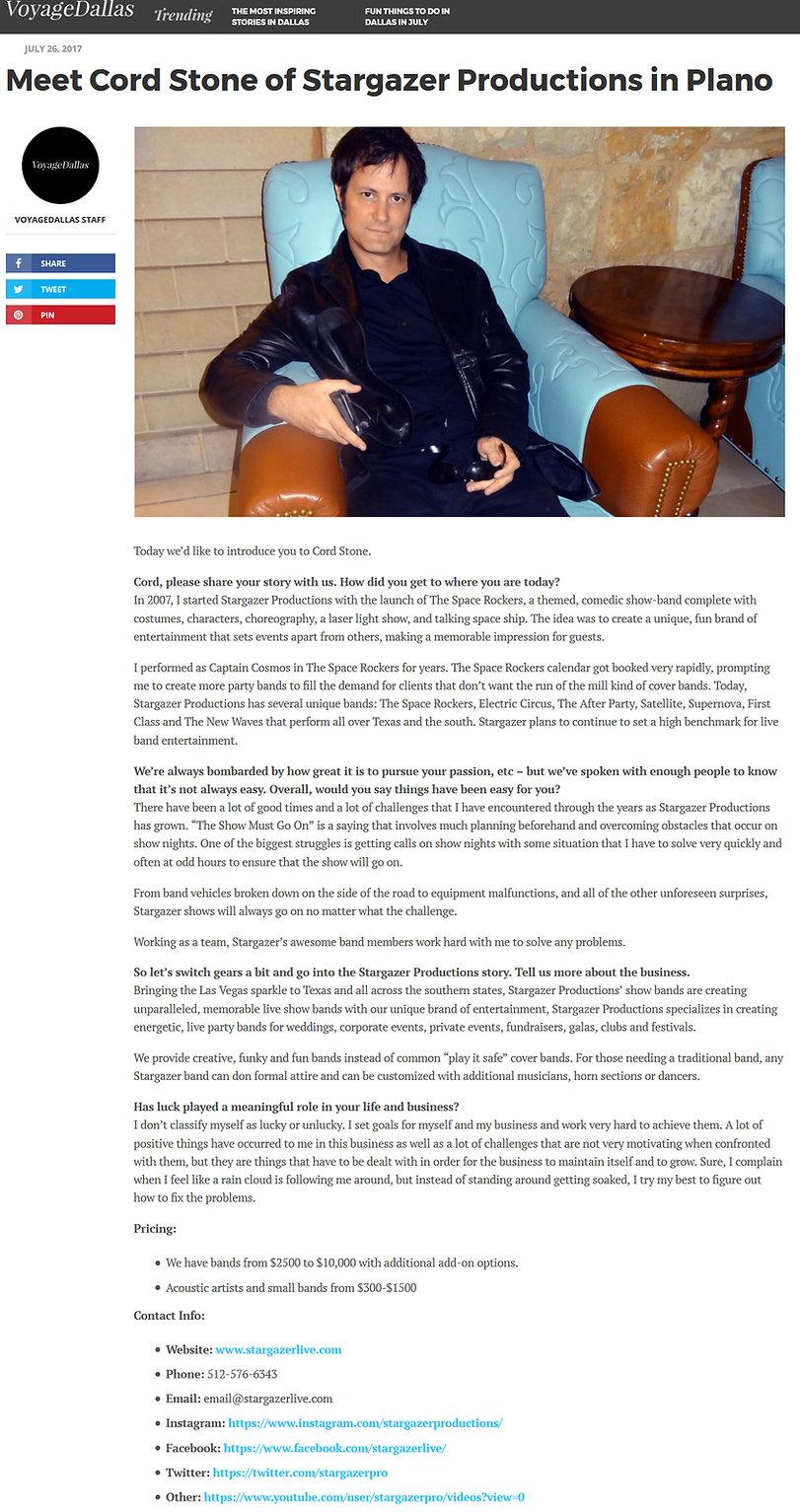 Cord Stone interview in Voyage Magazine
