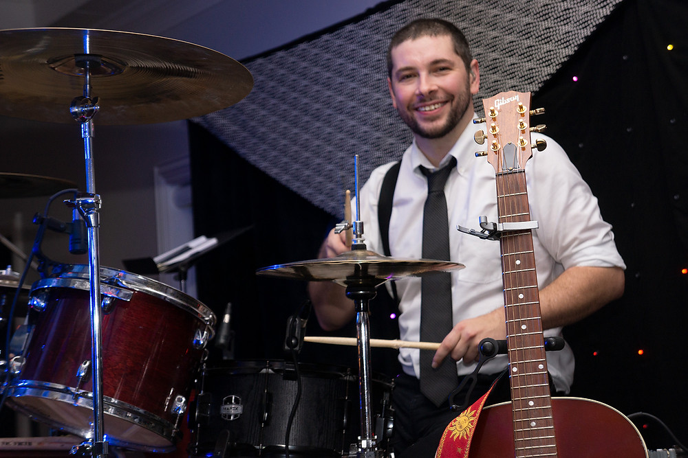 The After Party wedding band drummer at Milestone Mansion
