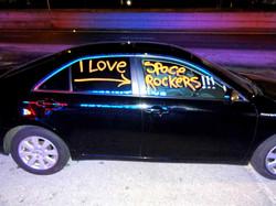 A Space Rockers Fan's car