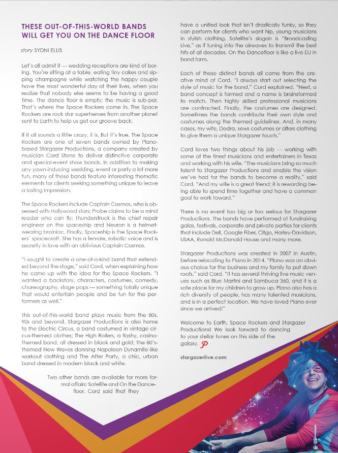 Plano Magazine Stargazer Productions Party Bands article