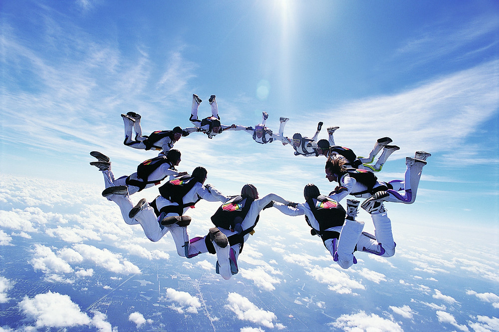 Gosh, skydiving is so exciting!