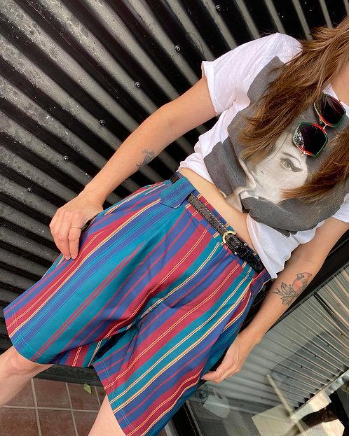 Retro High-Waisted Striped Shorts