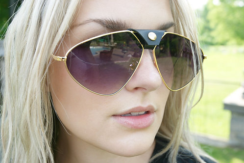 Aviator Shades with Leather Detail on Bridge