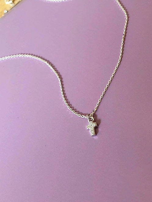 Silver Sparkly Mini Cross Necklace