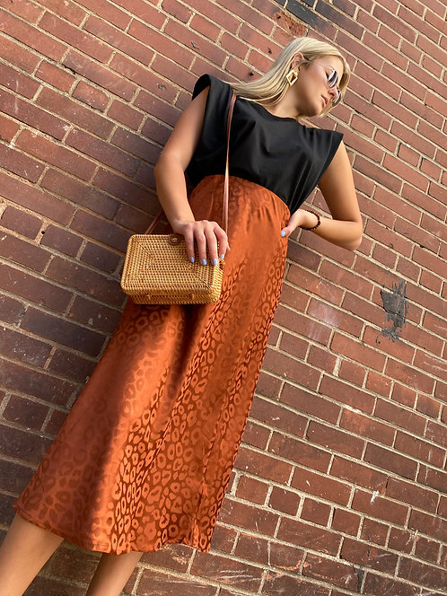 Satin Leopard Print Midi Flare Skirt