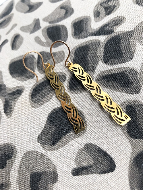 Pierced Rectangular Long Dangle Earrings