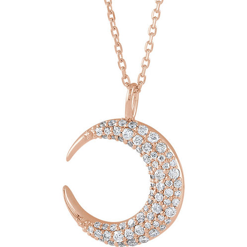 14K Gold Diamond Crescent Pendant and Chain