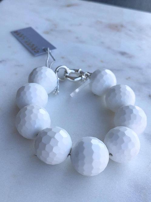 Jumbo White Agate Beaded Bracelet