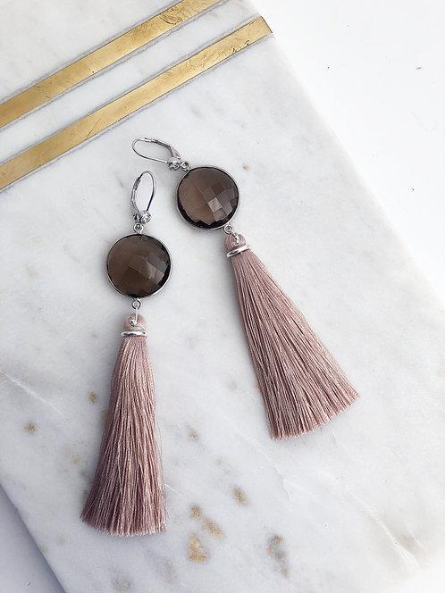FancyTassel Earrings with Jumbo Gem