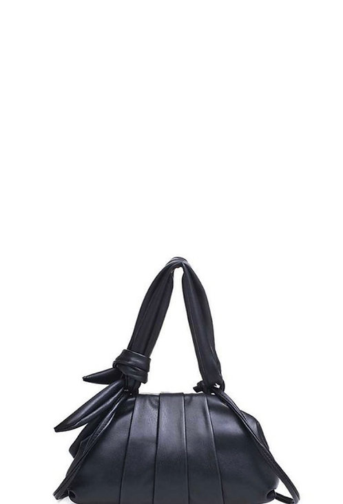 Black Vegan Leather Crossbody Purse with Knotted Handle