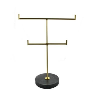 Black Marble Double Jewellery Stand