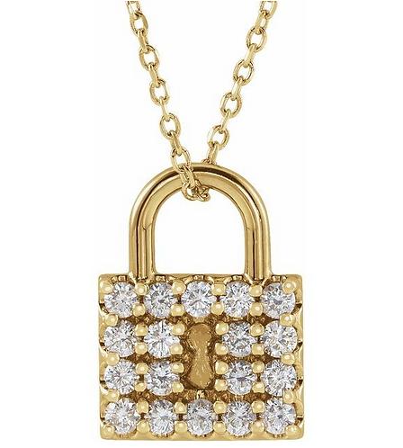 14k Gold Diamond Lock Necklace