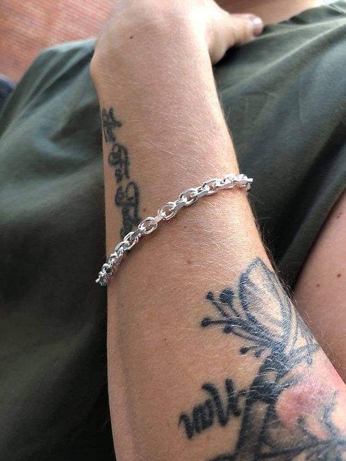 Silver Chunky Diamond Cut Anchor Chain Bracelet