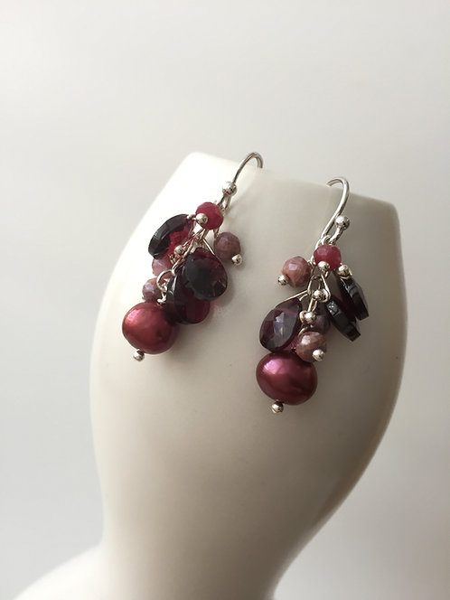 Gem Cluster Drop Earrings