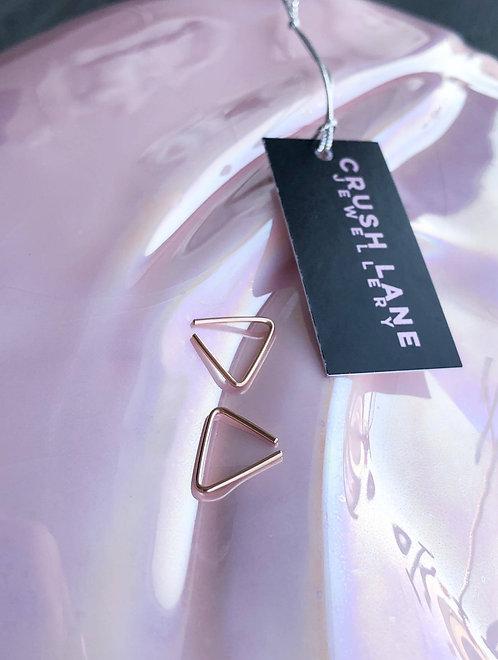 10k Rose Gold Mini Minimalistic Triangle Earrings