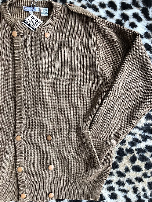 Brown Double-Breasted Cardigan