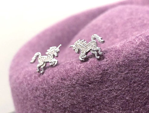 Silver Sparkly Unicorn Studs