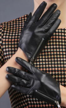 Genuine Black Leather Gloves with Chunky Zipper
