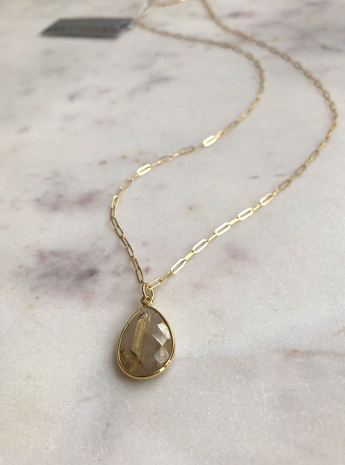 14k Gold Filled Long Paperclip Necklace with Gold Rutilated Quartz