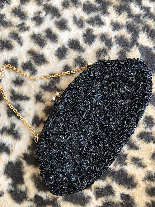 Black Beaded Clutch w/ Gold Detail