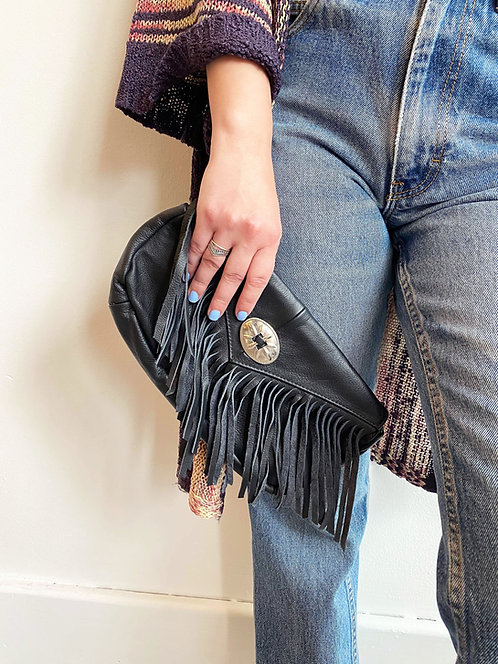 Black Genuine Leather Clutch with Fringe