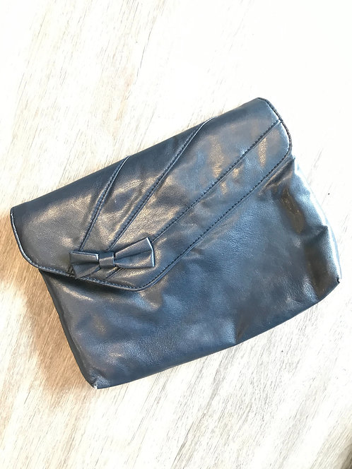 Vegan Leather Navy Purse with Bow
