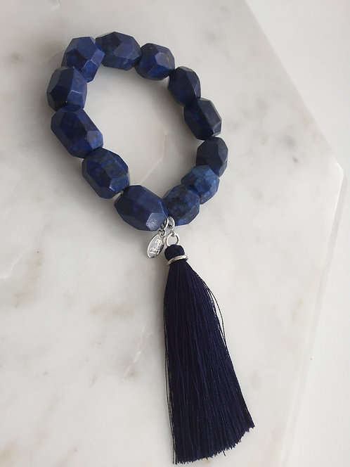 Jumbo Lapis Beaded Expandable Bracelet with Tassel