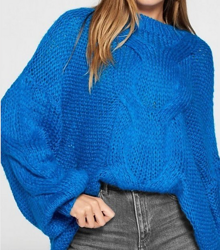 Electric Blue Boat Neck Sweater