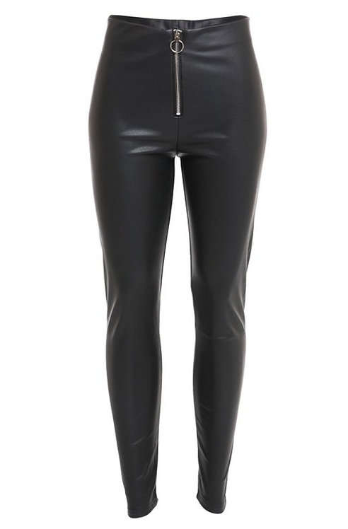 Black Faux Leather Legging with Zipper Fly