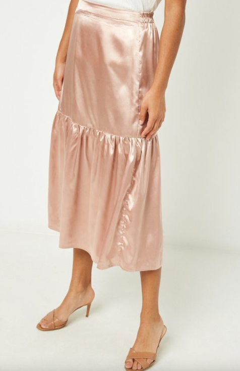 Satin Tiered Midi Skirt