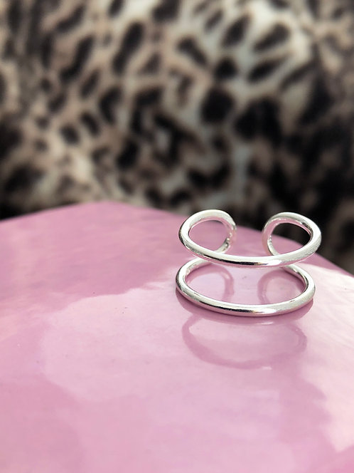 Silver Parallel Open Bar Ring
