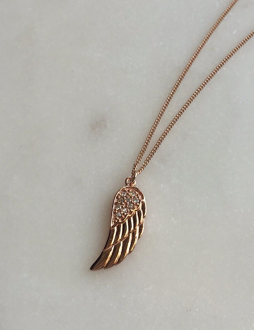 Rose Gold Wing Pendant with Chain