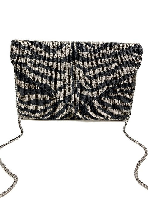 Animal Print Beaded Clutch